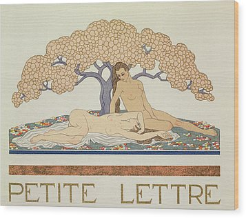 Female Nudes Wood Print by Georges Barbier