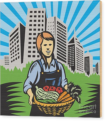 Female Organic Farmer Urban Wood Print by Aloysius Patrimonio