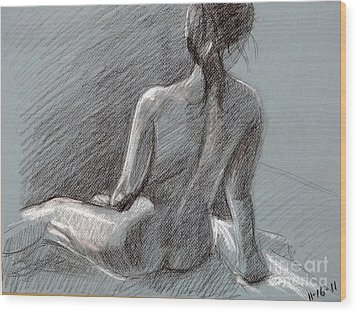 Female Seated Back Wood Print