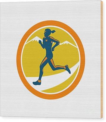 Female Triathlete Runner Running Retro Wood Print by Aloysius Patrimonio