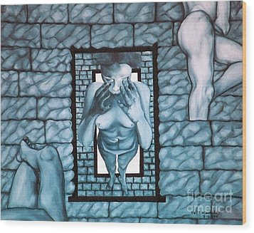 Wood Print featuring the painting Female's Gray World by Fei A
