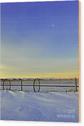 Fence And Moon Wood Print by Desiree Paquette