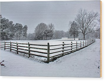 Fence In Snow Wood Print