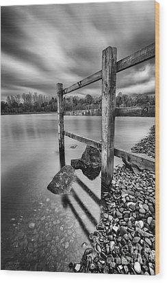 Fence In The Loch  Wood Print by John Farnan