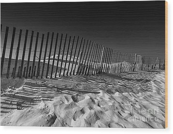 Fence On Beach Wood Print