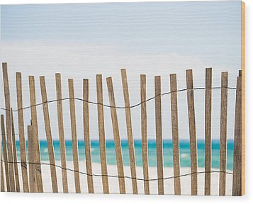 Fence On The Beach Wood Print by Shelby  Young