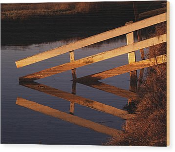 Fenced Reflection Wood Print by Bill Gallagher