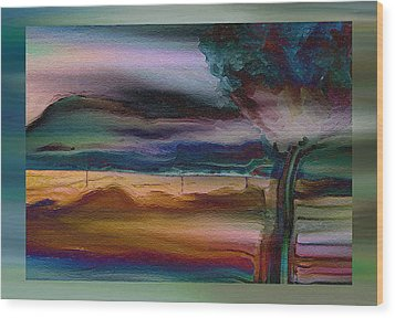Fences In The Mist Wood Print by Lenore Senior