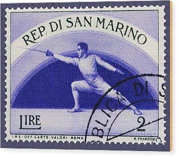 Fencing On San Marino Stamp Wood Print