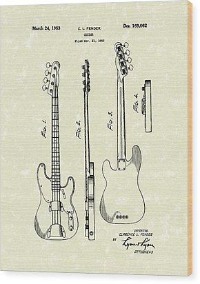 Fender Bass Guitar 1953 Patent Art  Wood Print