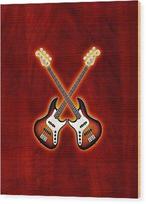 Fender Jazz Bass Lefty Wood Print by Doron Mafdoos