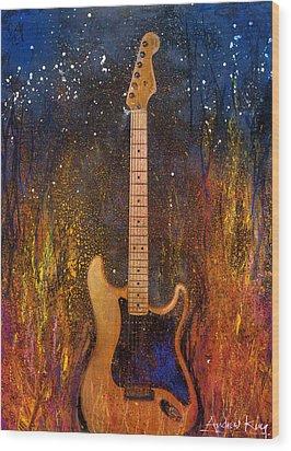 Fender On Fire Wood Print