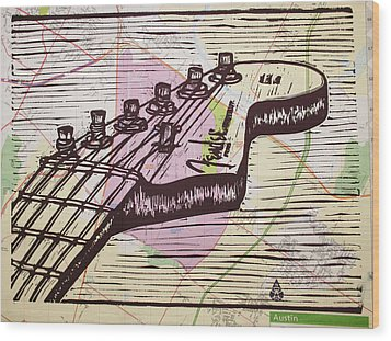 Fender Strat On Map Wood Print by William Cauthern