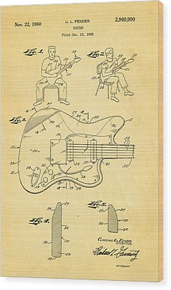 Fender Jazzmaster Guitar Patent Art 1960  Wood Print by Ian Monk