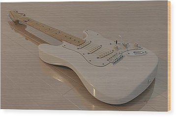 Fender Stratocaster In White Wood Print by James Barnes