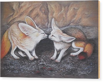 Wood Print featuring the drawing Fennec Love by Patricia Lintner