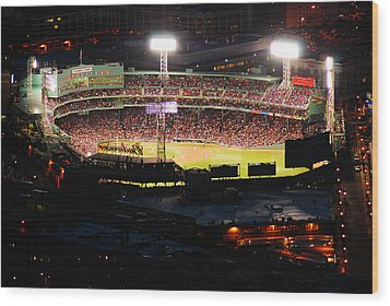 Fenway At Night Wood Print by James Kirkikis