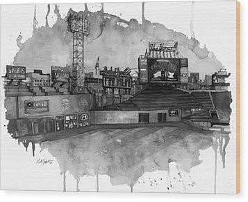 Fenway Bw Wood Print by Michael  Pattison