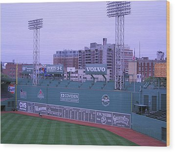 Fenway Left Field Wood Print by Brian Hoover