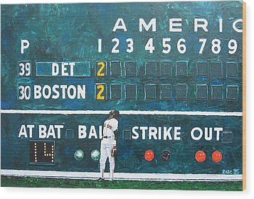 Fenway Park - Green Monster Wood Print by Mike Rabe