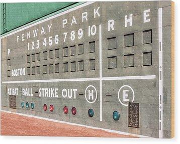 Fenway Park Scoreboard Wood Print