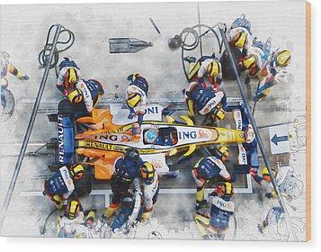 Fernando Alonso Wood Print