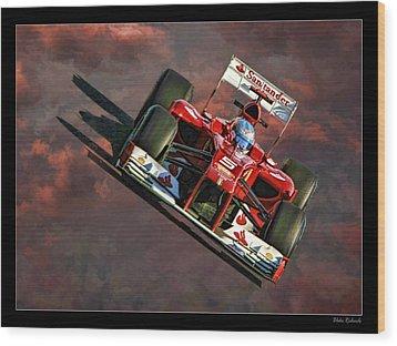 Fernando Alonso Ferrari Wood Print