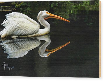 Feron's Heron Wood Print by Glenn Feron