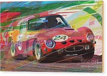 Ferrari 250 Gto Vintage Racing Wood Print by David Lloyd Glover