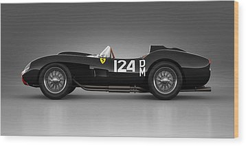 Wood Print featuring the digital art Ferrari 250 Testa Rossa - Rosette by Marc Orphanos
