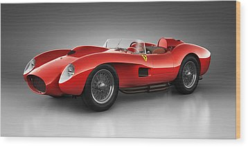 Wood Print featuring the digital art Ferrari 250 Testa Rossa - Spirit by Marc Orphanos