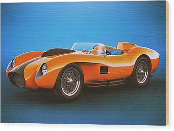 Wood Print featuring the digital art Ferrari 250 Testa Rossa - Vintage Racing by Marc Orphanos
