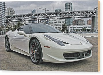 Ferrari 458 Italia In White Wood Print