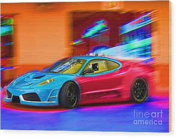 Wood Print featuring the photograph Ferrari Baby Blue by Gunter Nezhoda
