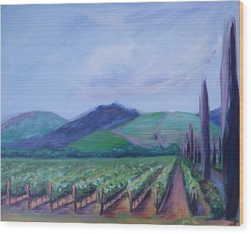 Ferrari Carano Vineyard Wood Print by Donna Tuten