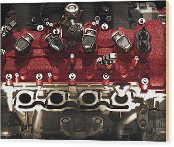 Ferrari Engine Wood Print by Radoslav Nedelchev