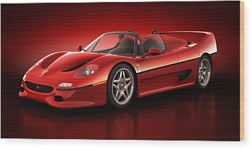 Wood Print featuring the digital art Ferrari F50 - Flare by Marc Orphanos