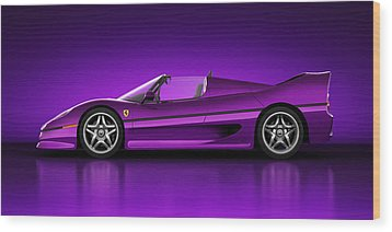 Wood Print featuring the digital art Ferrari F50 - Neon by Marc Orphanos