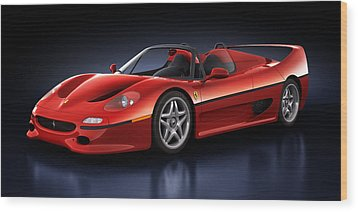 Wood Print featuring the digital art Ferrari F50 - Phantasm by Marc Orphanos