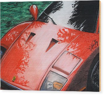 Ferrari In Red Wood Print