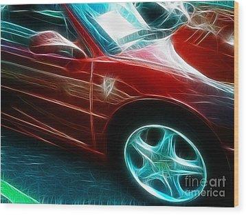 Ferrari In Red Wood Print by Paul Ward