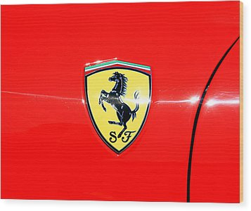 Ferrari Logo Wood Print by Valentino Visentini
