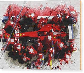 Ferrari Make Changes In Pit Lane Wood Print