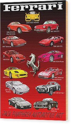 Ferrari Poster Art Wood Print by Jack Pumphrey