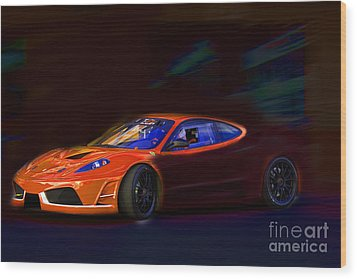 Wood Print featuring the photograph Ferrari Shadow by Gunter Nezhoda