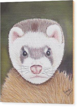 Ferret Wood Print by Brenda Bonfield