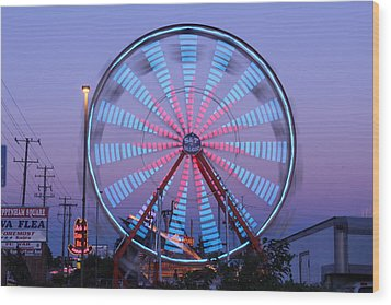 Ferris At Dusk Wood Print by Shawn MacMeekin