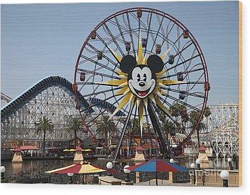 Ferris Wheel And Roller Coaster - Paradise Pier - Disney California Adventure - Anaheim California - Wood Print by Wingsdomain Art and Photography