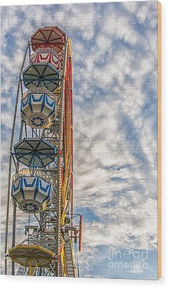 Ferris Wheel Wood Print by Antony McAulay