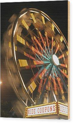 Ferris Wheel Wood Print by Brandon Tabiolo